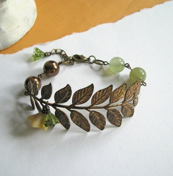 FREE SHIPPING - Rain Forest Bracelet (olivine) - Vintage and botanical inspired, antiqued brass stem with leaves, olivine and cream flowers, bronze pearls and olivine green new jade