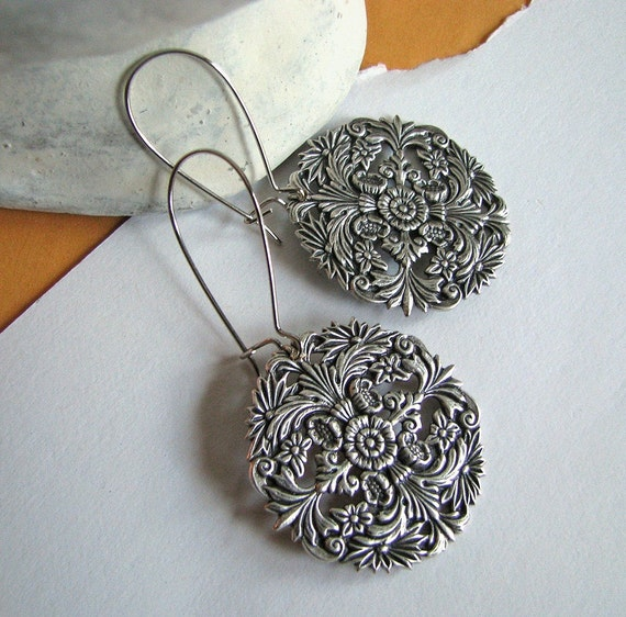 "FREE SHIPPING - Two or more items - Botanica Earrings - Vintage and nature inspired antiqued silver circular filigree drops, 1"" diameter"