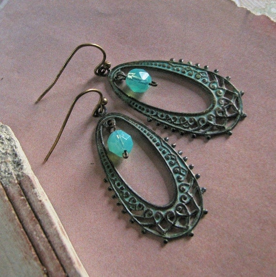 FREE SHIPPING - Two or more items - Yesteryear Earrings (verdigris)- Vintage art deco inspired hoops accented, faceted deep aqua czech glass