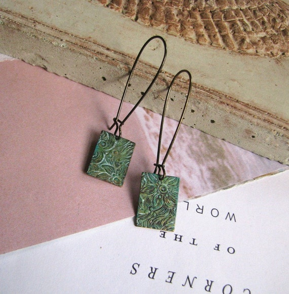 FREE SHIPPING - Two or more items - Embossed Floral Earrings (verdigris) - Antique brass with embossed floral design