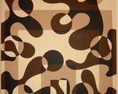 Custom OOAK Mod Op Art square swirl circle abstract painting