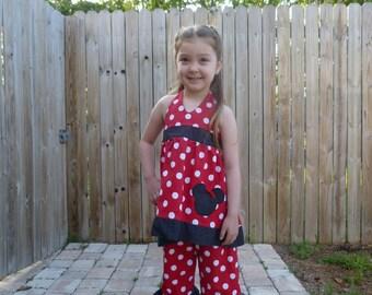 Minnie Mouse Polka Dot Halter Top Dress & Ruffle Capri Pants TBJ