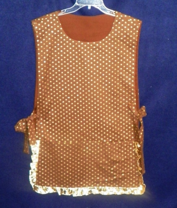 Brown with Gold Dots Kitchen Cobbler Apron Smock