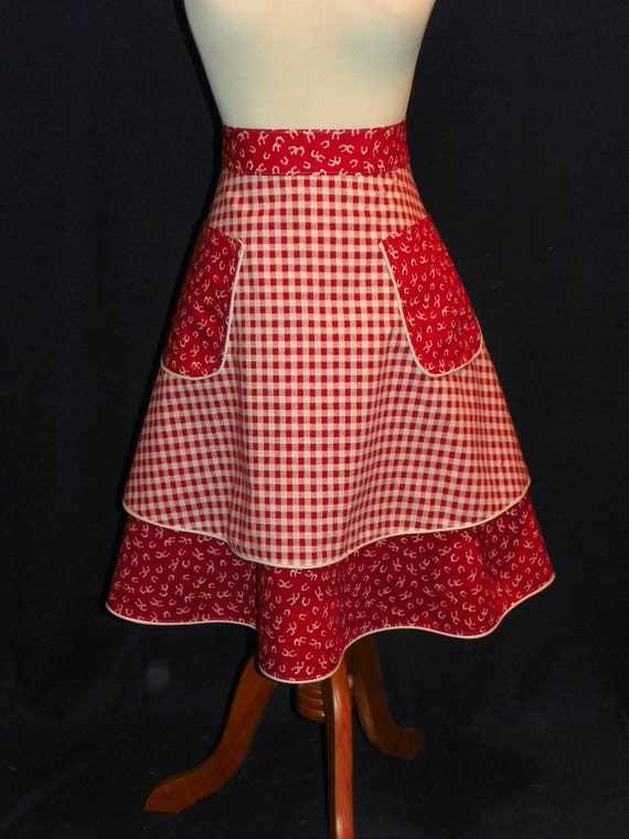 Gingham and Horseshoes Double Skirt Waist Apron