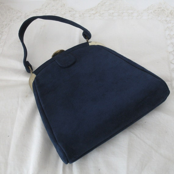 Vintage Blue Suede Purse- Vintage Navy Blue Handbag