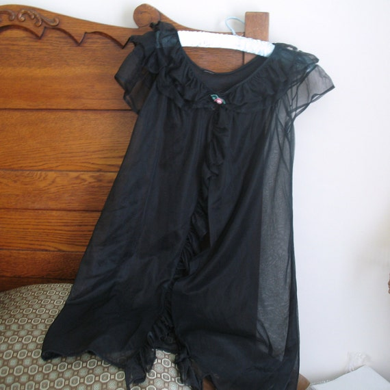 Vintage Sheer Black  Nightie - Ladies Nightgown Black Lace