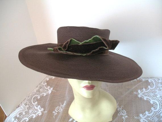 Vintage Wide Brim Brown Straw Hat -Designer 1940s Hat- Derby Style HIgh Fashion Hat