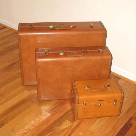 Vintage Samsonite Shwayder Brothers Brown Suitcases