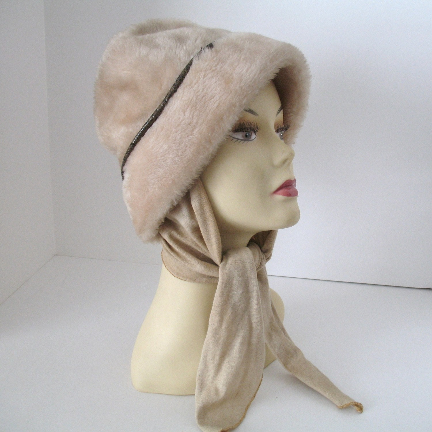 vintage faux fur hat with attached scarf