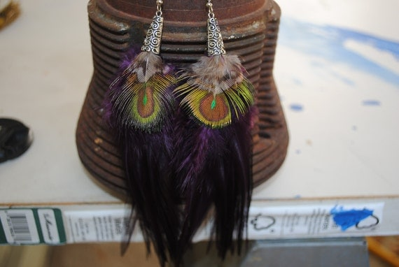 deep purple and peacock feather earrings