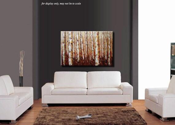 ELENA  original 36x24 Birches trees landscape acrylic palette knife painting contemporary