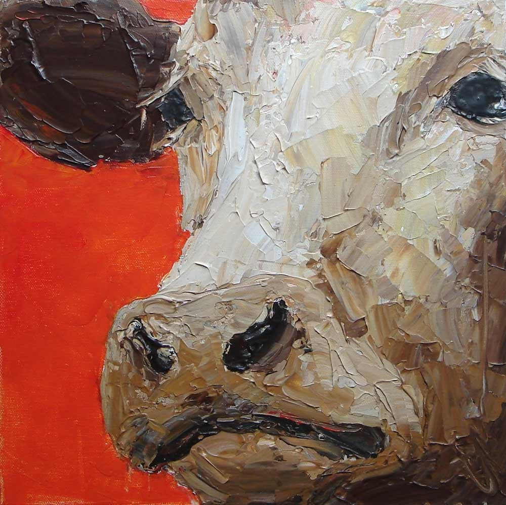 Cow painting original acrylic painting palette knife farm for How to paint with a palette knife with acrylics