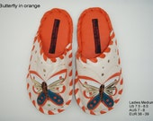 Handmade leather slippers by Karmen Sega -  Butterfly in orange