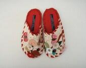 Handmade Leather Slippers by Karmen Sega - Ladies Red Medium cherries and butterfly.