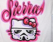 hello kitty t shirt,airbrush personalized t shirt, storm trooper t shirt