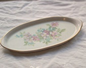 Porcelain dresser tray with flowers and gold trim