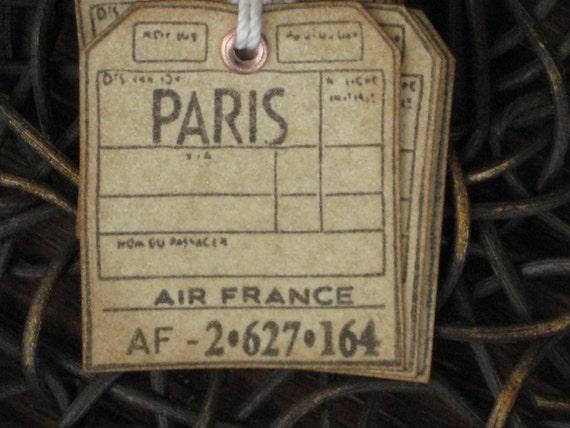 Gift Tags, Paris, French Style Tags, Sepia Tags, set of 6