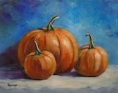 "Pumpkins Still Life... Original Daily Painting by Rosage...8x10"""