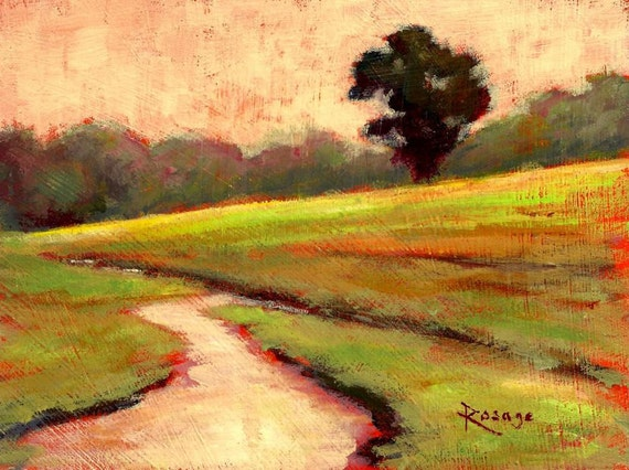 """Peaceful Landscape... Lone Tree with Meandering Stream... Original painting by Rosage... 6x8"""""""