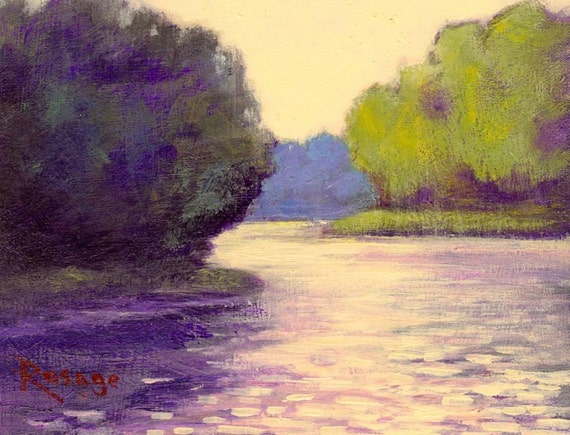 """Peaceful River Landscape... Original Daily Painting by Rosage...6x8"""""""