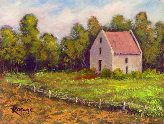 """Irish Landscape... The Bunratty Mill, County Clare, Ireland...Original Daily Painting by Rosage...6x8"""""""