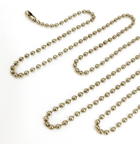 10 Ball Chain Necklaces 24 inch Nickel Plated, 2.4mm bead
