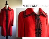 SALE annette - vintage 60s red wool swing coat