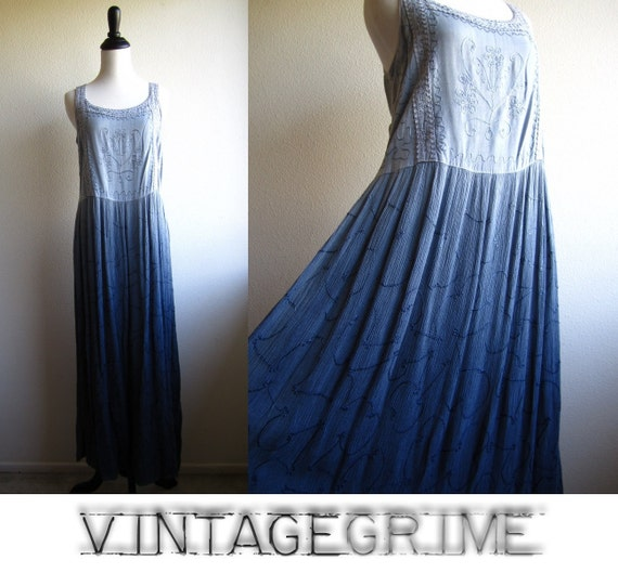 shannon - 70s drip dye maxi gauze dress M L