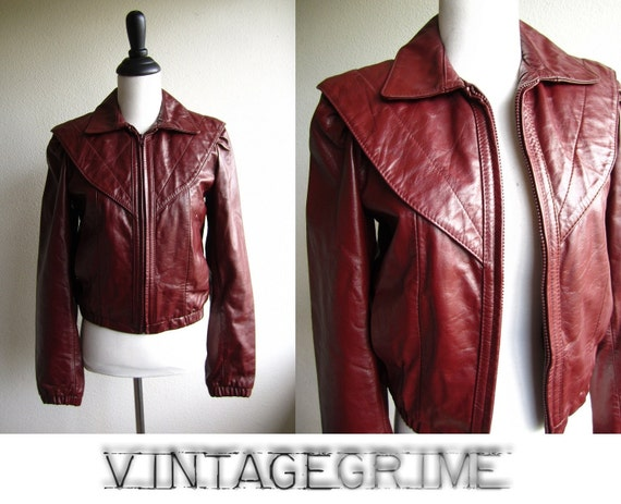 alex - 80s merlot leather jacket with fur lining S