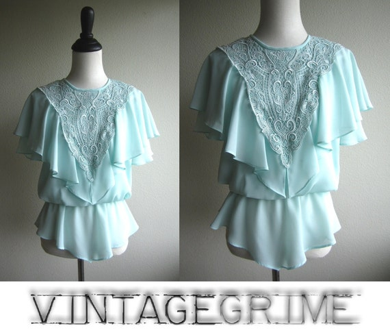 victoria - 70s powder blue blouse with ruffles and lace S
