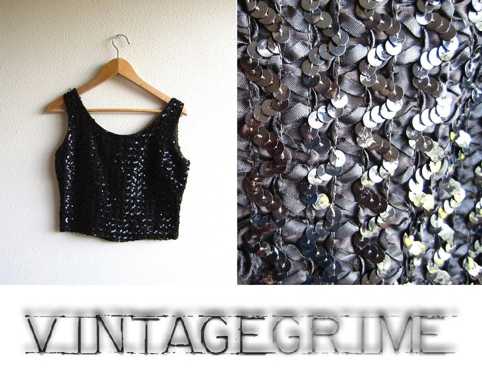 black sequin vintage tank