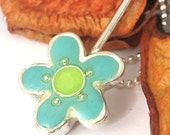 SA-Sterling silver  Necklace - Turquoise  Flower