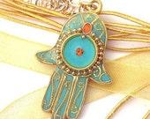 Gold hamsa, pendant,  turquoise pendant ,charm, necklace
