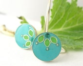 Silver turquoise Dangle Earrings and lime green leaves