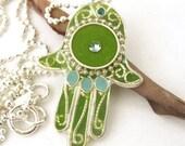 Silver Necklace -Apple green  Hamsa