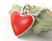 Small Red Heart necklace - silver chain, red resin ,Valentines day