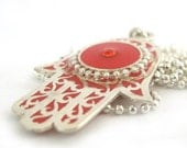FREE SHIPPING Hamsa Necklace, red hamsa jewelry, hamsa pendant jewelry