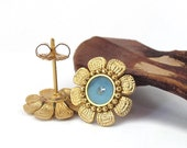 Gold post stud  Earrings - Flower in blue sky  color and  Light Sapphire Swarovski crystal