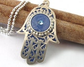 Silver  Hamsa Necklace, filigree Blue jeans resin colors,  turquoise Swarovski Crystal