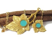 Gold turquoise necklace -- Maple leaves, turquoise resin circles, 14K gold filled chain, gold Leaves pendant, Wide pendant