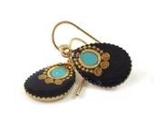 Gold Dangle Earrings,  Black earrings,  small  Black Drops, black & turquoise resin, 14k gold filled, for her, under 40, valentines day