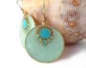 Round dangle Earrings -- Light green, mint and turquoise color  resin, round, gold earrings, 14k gold filled, light blue