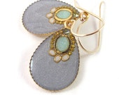 Gold Drops Earrings , Silver grey Drop ,   14K gold filled  , gray and light green resin , gift for her , under 40