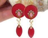 Deep raspberry long earrings, hot pink dangle earrings, circle fuchsia earrings earrings, colorful earrings