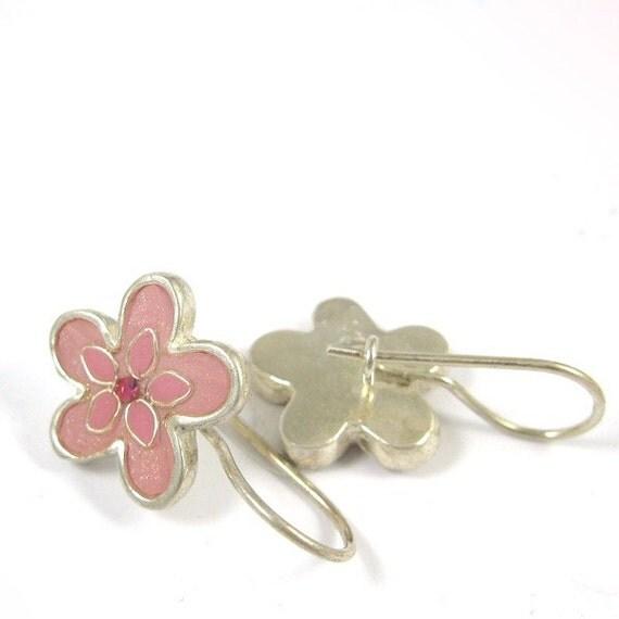 Silver  earrings - Pink Flower