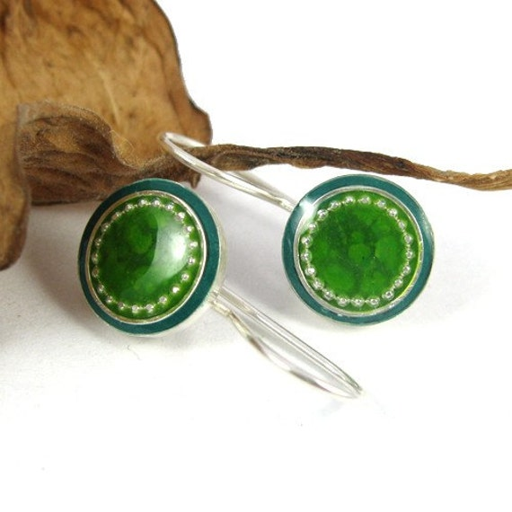 Green Dangle Silver Earrings Round Sea Green and Forest Green