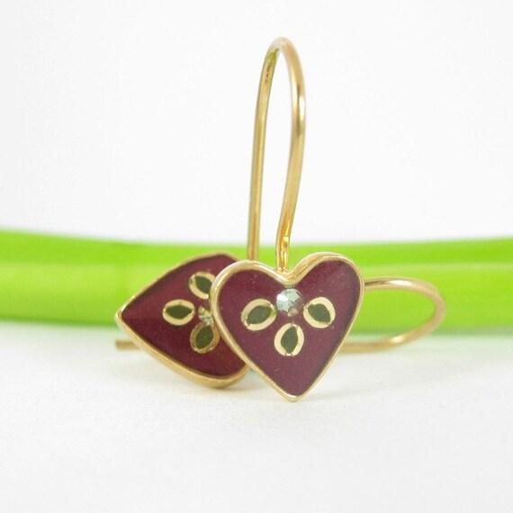 Tiny Heart Earrings - Gold. Burgundy, dark red, small green leaves, Chrysolite swarovski crystal.