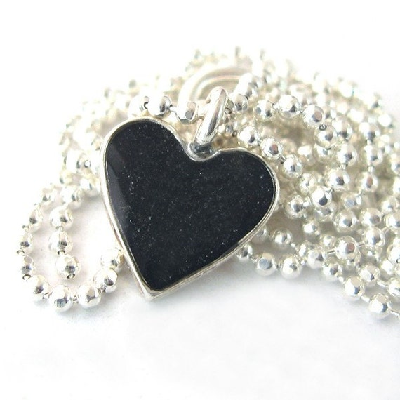 Silver heart necklace, black pendant heart, Valentine Silver Necklace and resin - Black Heart