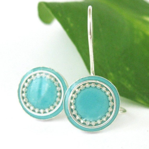 Turquoise Earrings, Round dangle silver Earrings, sterling silver earrings, girls earrings, light blue earrings