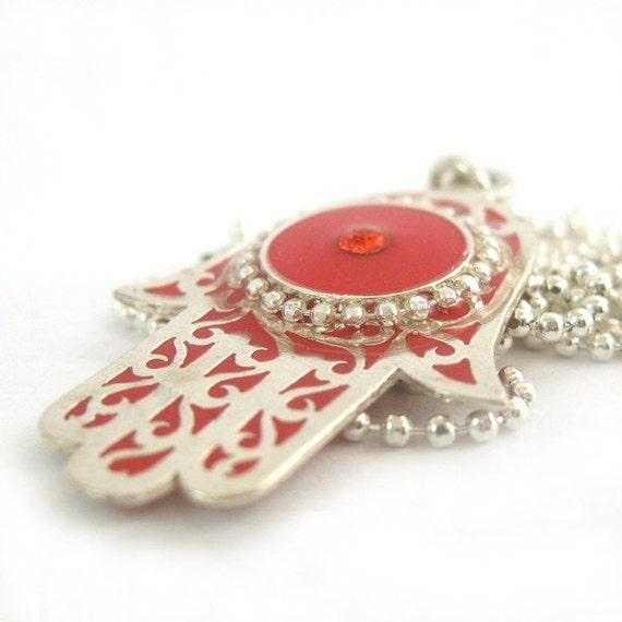 FREE SHIPPING Hamsa Necklace, red hamsa jewelry, hamsa pendant jewelry
